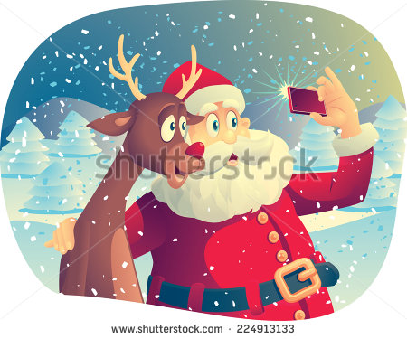 Santa and his best friend taking a selfie by nicoletaionescu