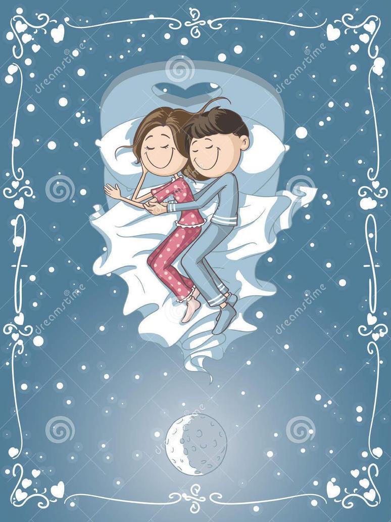 Vector cartoon of a boyfriend and girlfriend sleep by nicoletaionescu