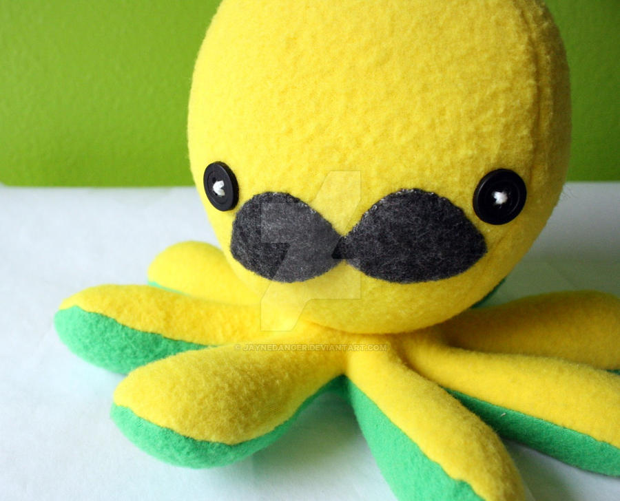 Yellow mustache octo-plushie by jaynedanger