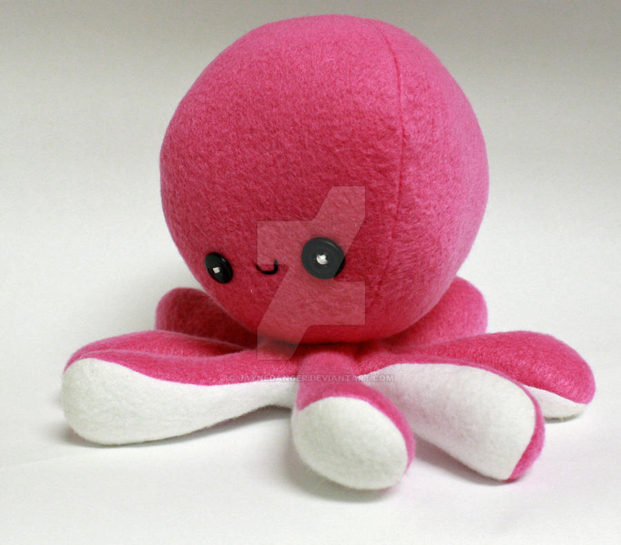 Pink and white octoplushie by jaynedanger