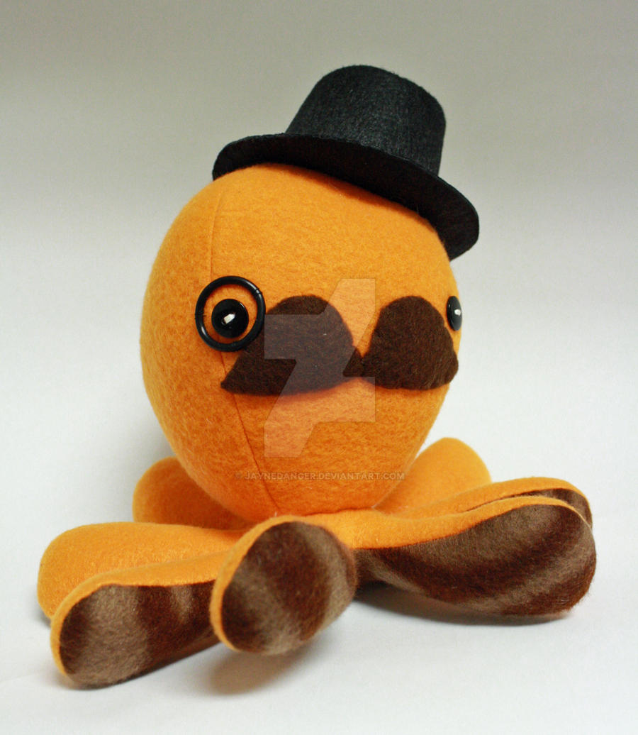 Orange gentleman octoplushie by jaynedanger