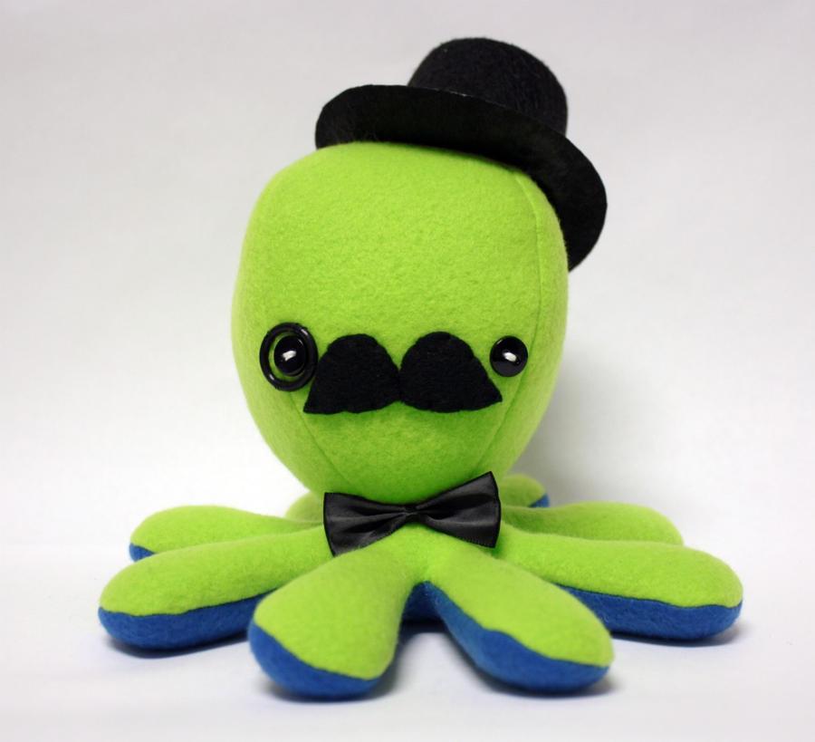 Green gentleman octopus plush by jaynedanger