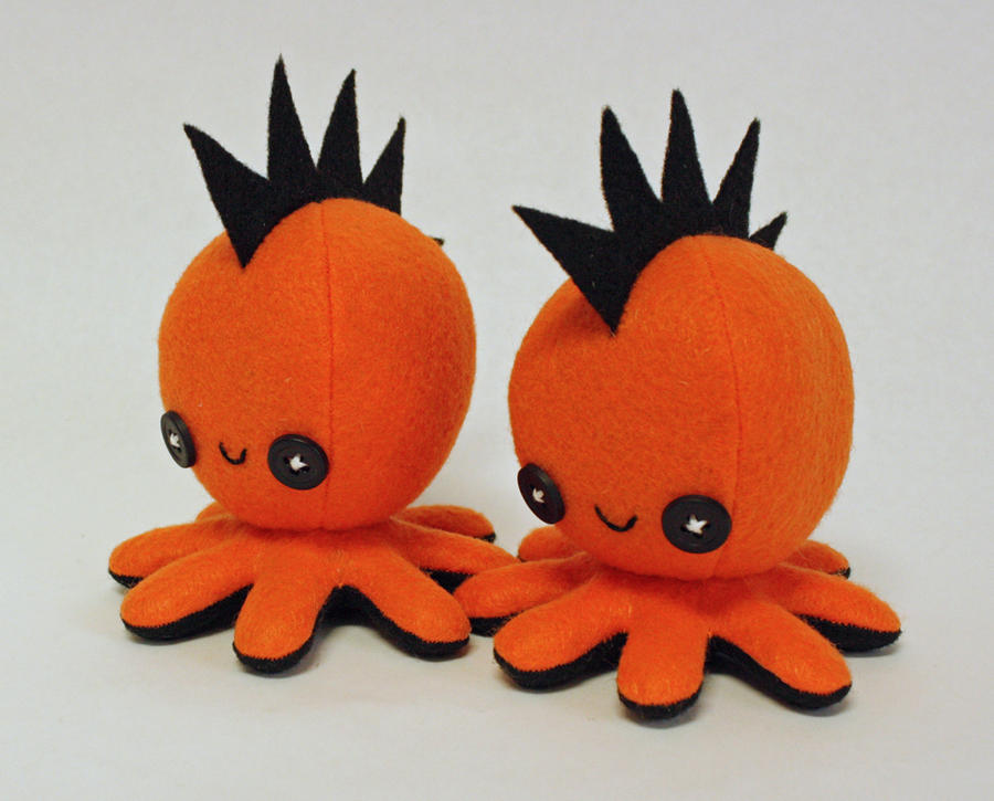 Octopus Pattern Plush Orange Mohawk Octopus Plush by
