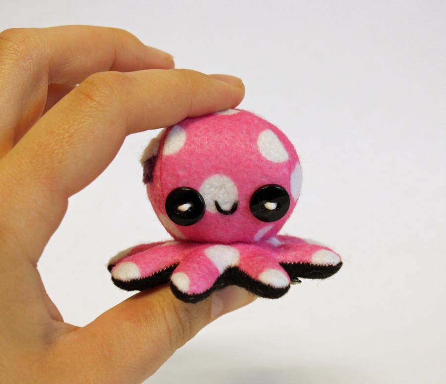 Tiny pink polka dot octo-plushie by jaynedanger
