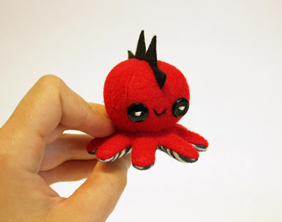 Tiny red mohawk octo-plushie by jaynedanger