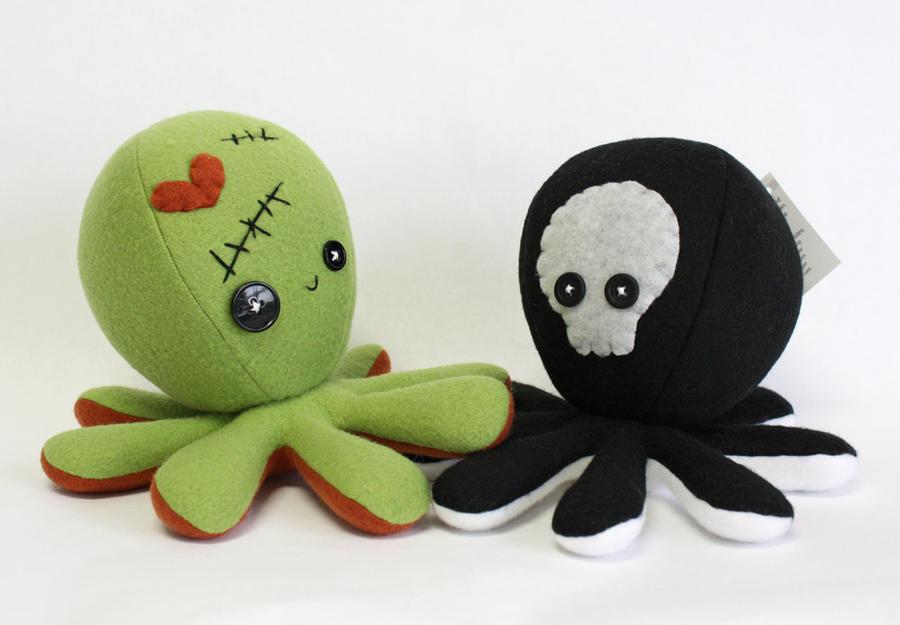 Frankenstein / Zombie and Skeleton octopus plushie by jaynedanger