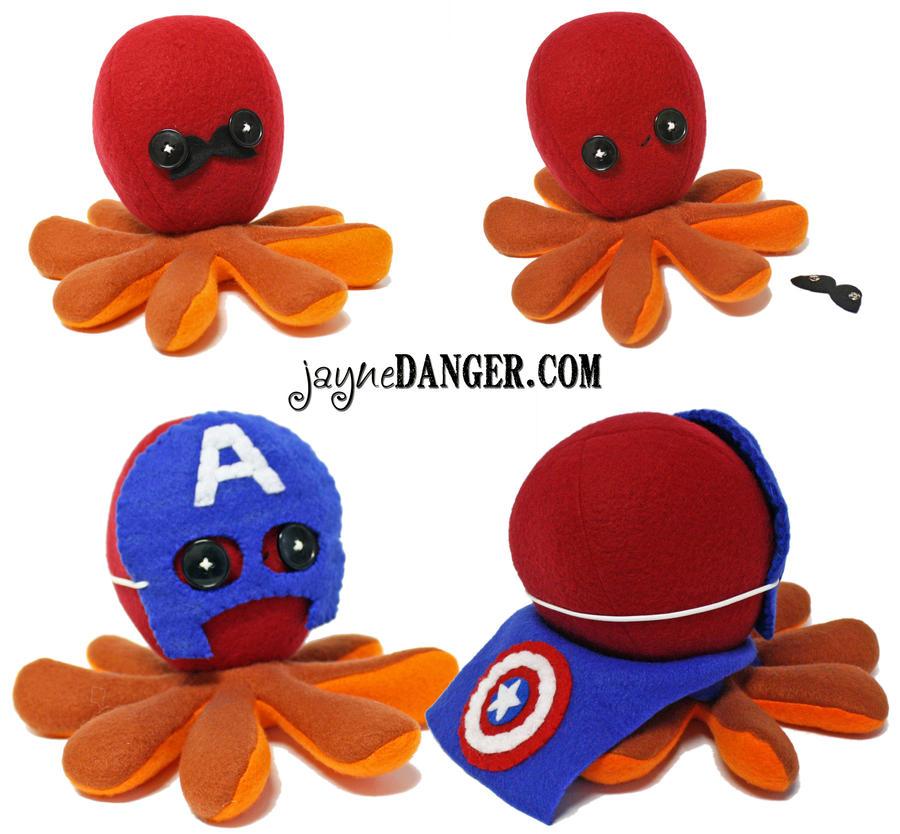 Custom Iron Man / Captain America octopus plushie by jaynedanger