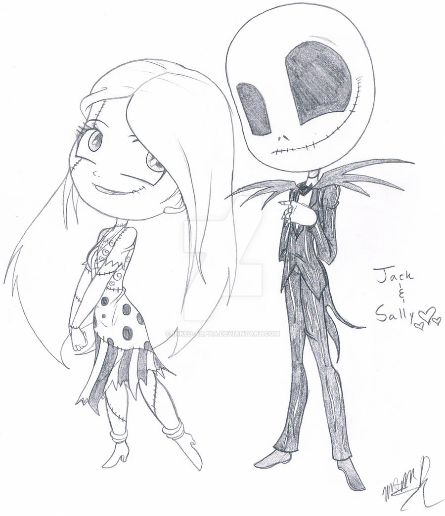 Jack and Sally Chibis by The Nightmare Before Christmas Sally And Jack Drawings