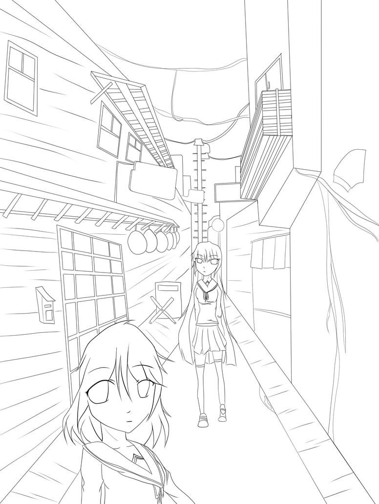 Line Art Home : Walking home line art by themangacritic on deviantart