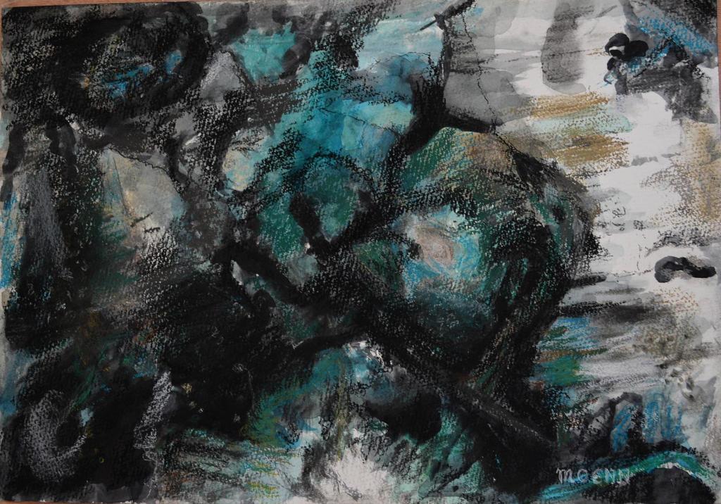 Composition En Noir Et Turquoise by Moenn
