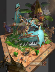 hedgehog's piano green land by arui001