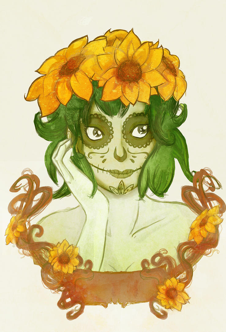 Sunflower girl by FiaFreckles