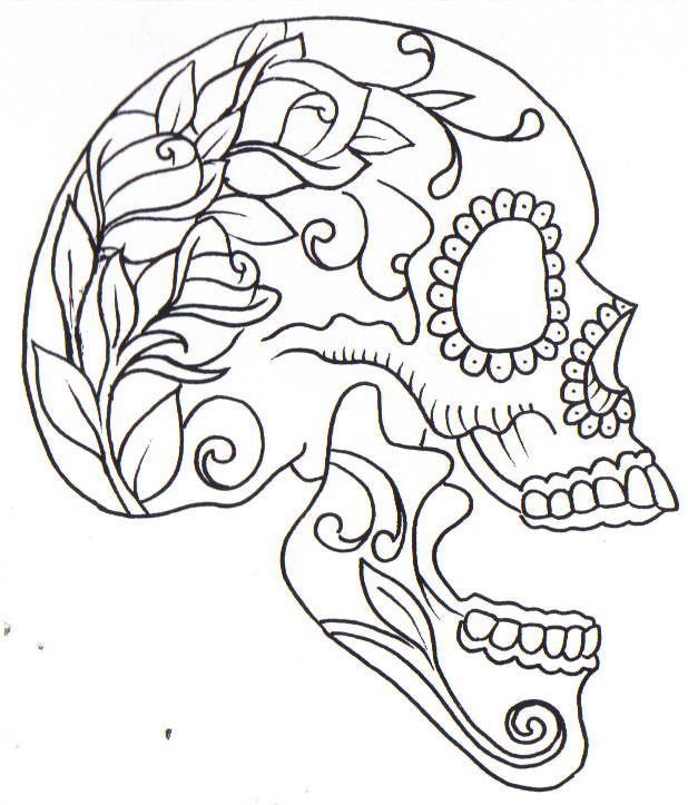 Sugarskull by curtiscflush on deviantart for Simple sugar skull coloring pages