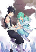 Yu Yu Hakusho - Hiei and Yukina by h-kaix