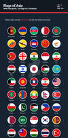 Flags of Asia - Flat Icons