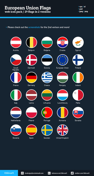 European Union Flags - Flat Icons