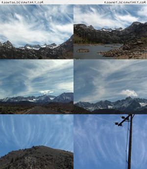Wispy clouds over mountains