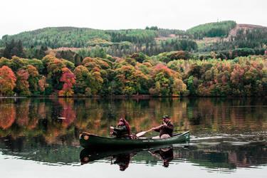 canoeists on the river tummel