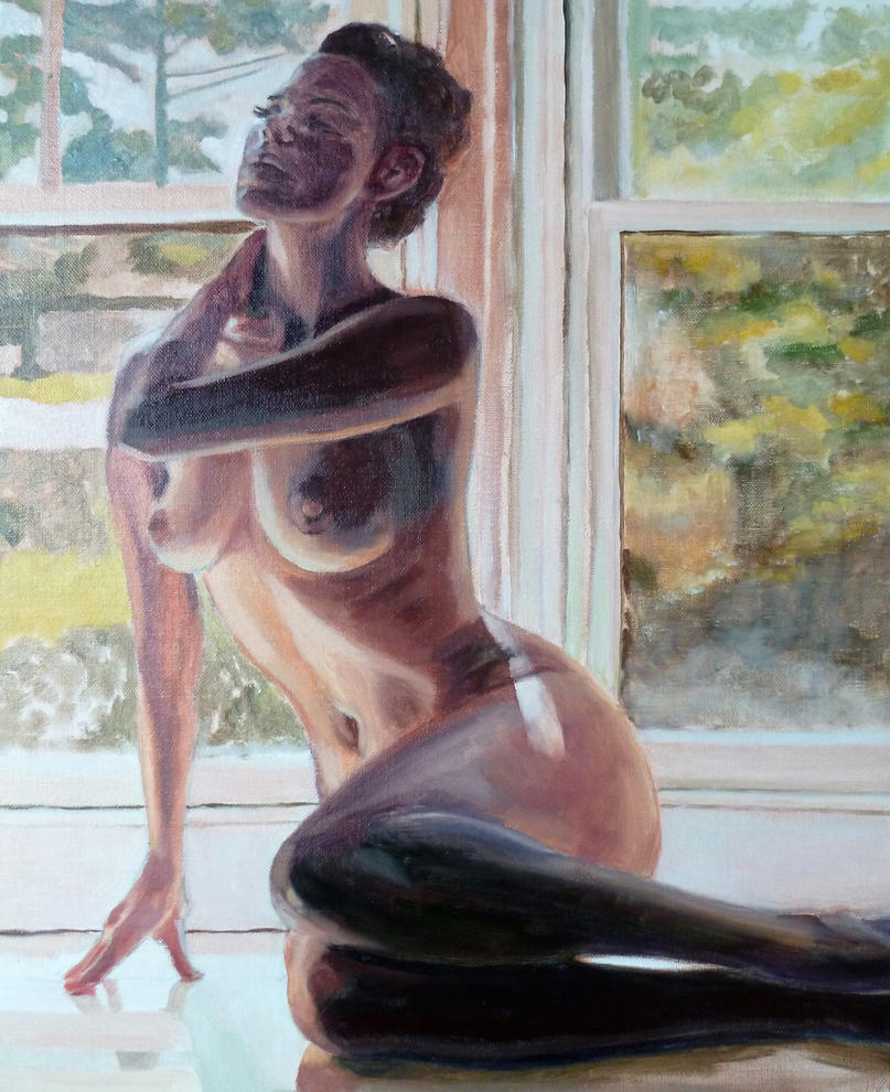 Nude in front of her window by Kovesdigaby