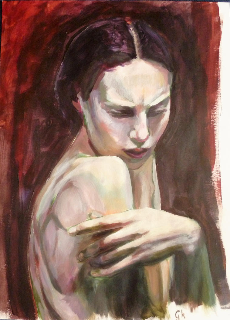 Study Oil on paper by Kovesdigaby