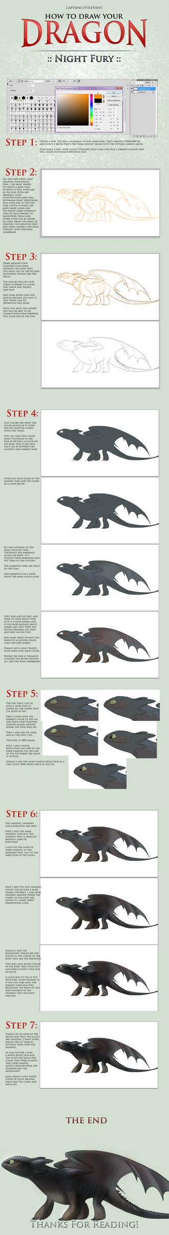 How To Draw Your Dragon: Night Fury by captaincuttlefish