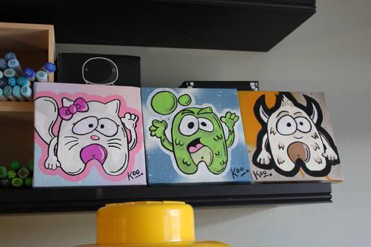 Three small paintings