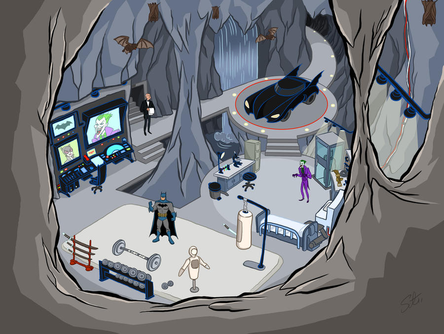 how to draw a batcave