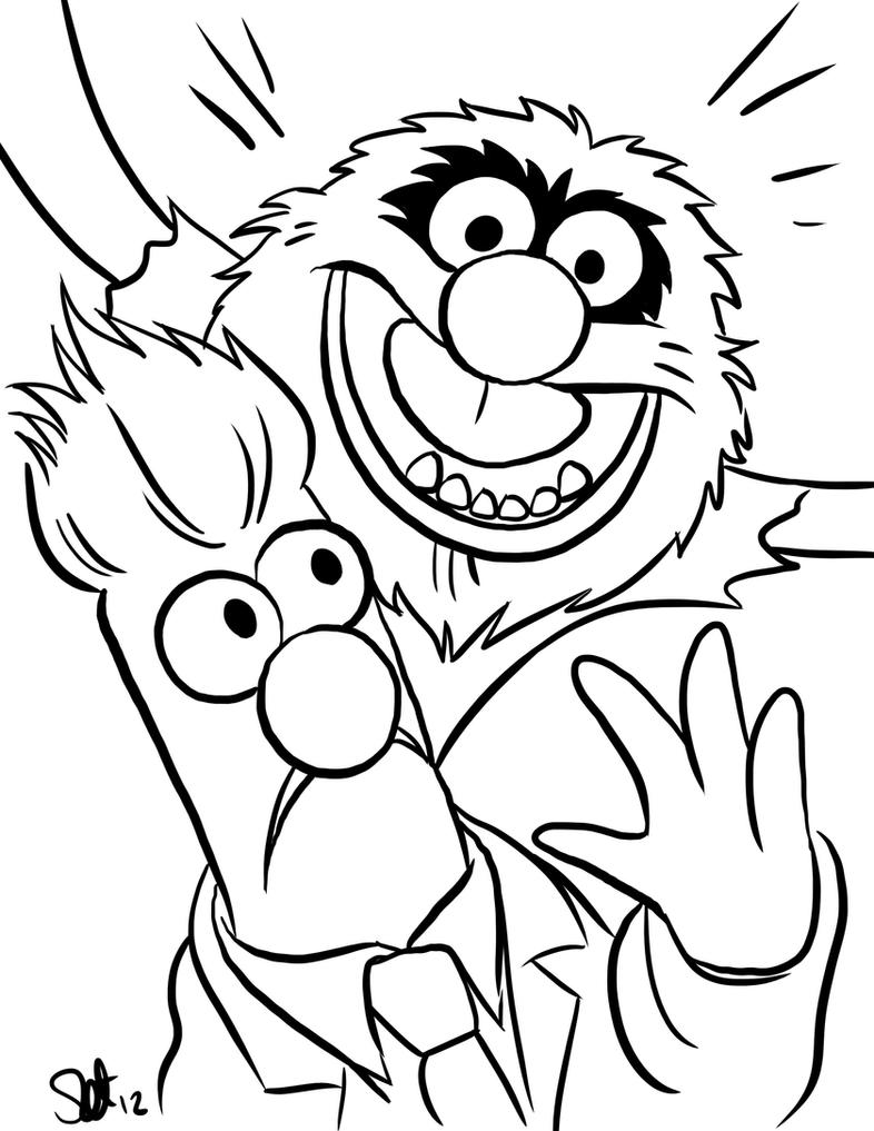 the muppets coloring pages - the muppets animal and beaker by scootah91 on deviantart