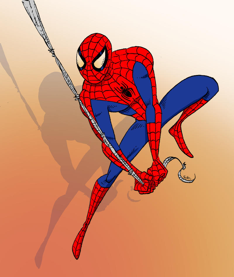 Man spider swinging