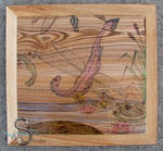Dragonflies - Pyrography with colored pencils