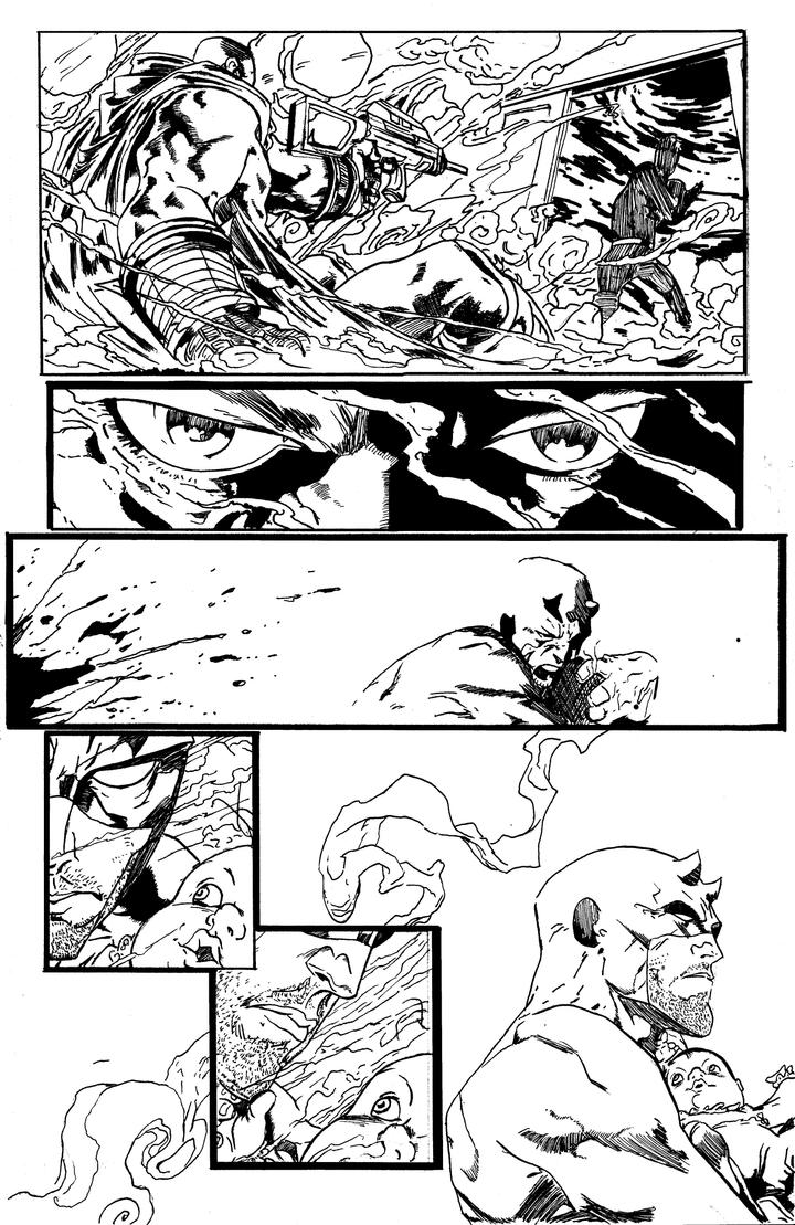 Daredevil Comic Art Inking by PaulHewittArt