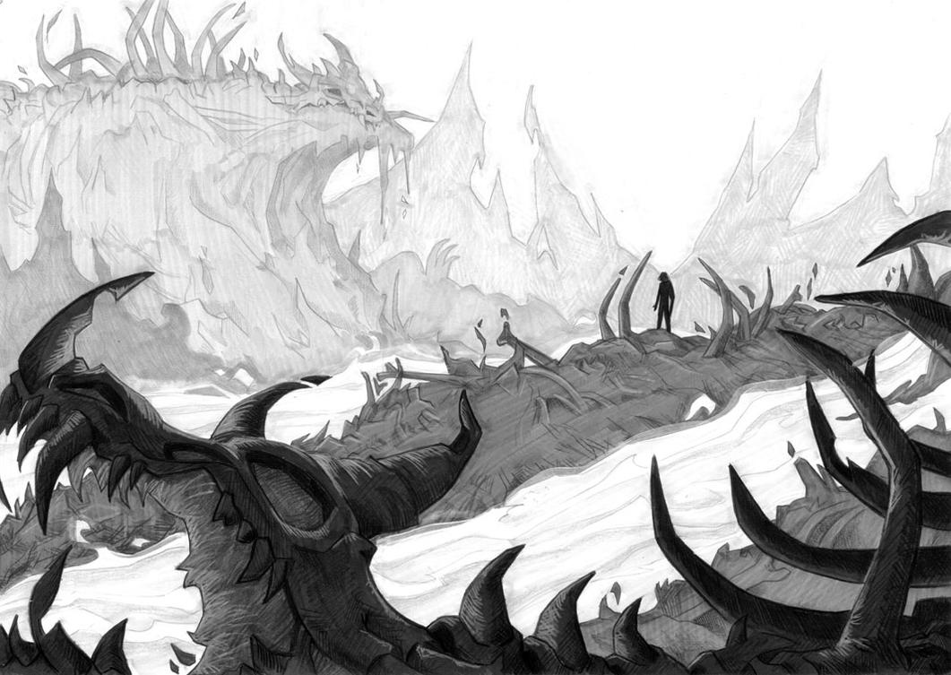 Dragon Graveyard - grayscale by LynxGriffin