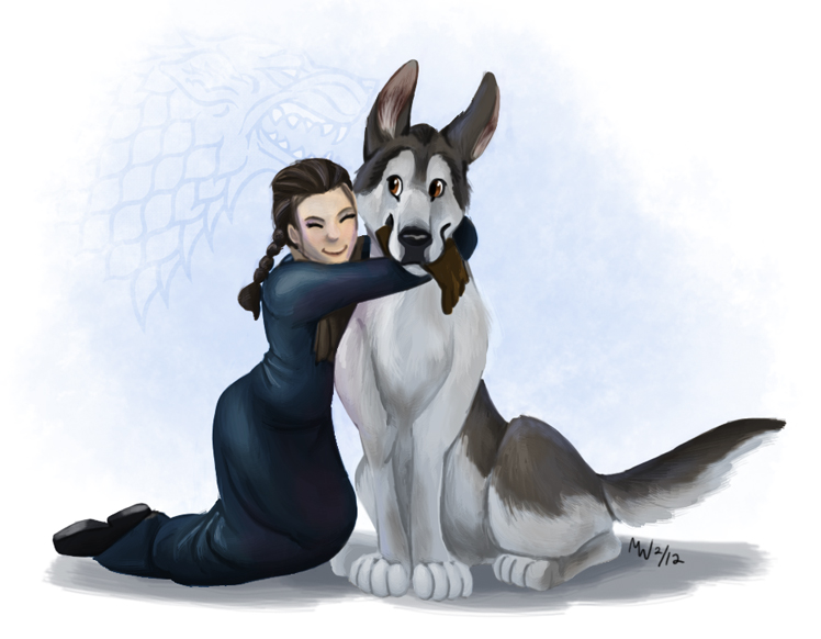 Gift - Arya and Nymeria by LynxGriffin