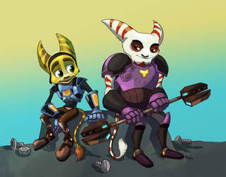 Comm - Ratchet and Alister by LynxGriffin