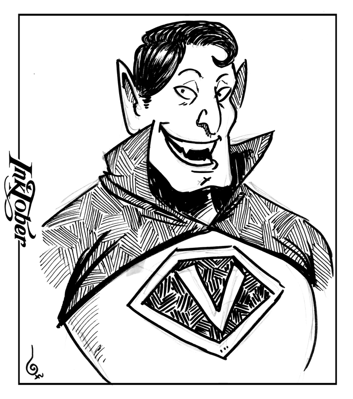 Inktober D13 Super Vampire Man by Holyengine