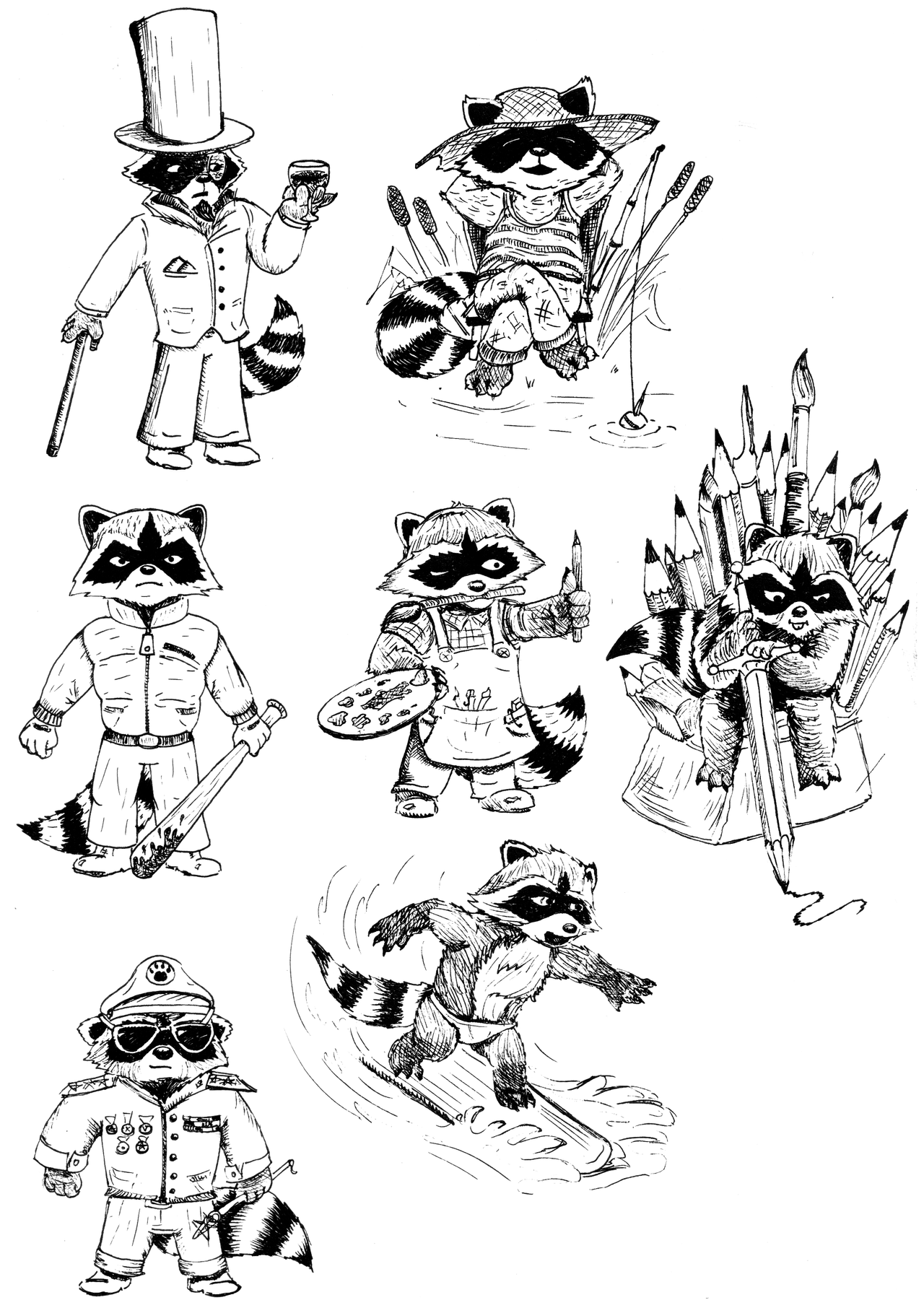 Racoon set 4 by Djigallag