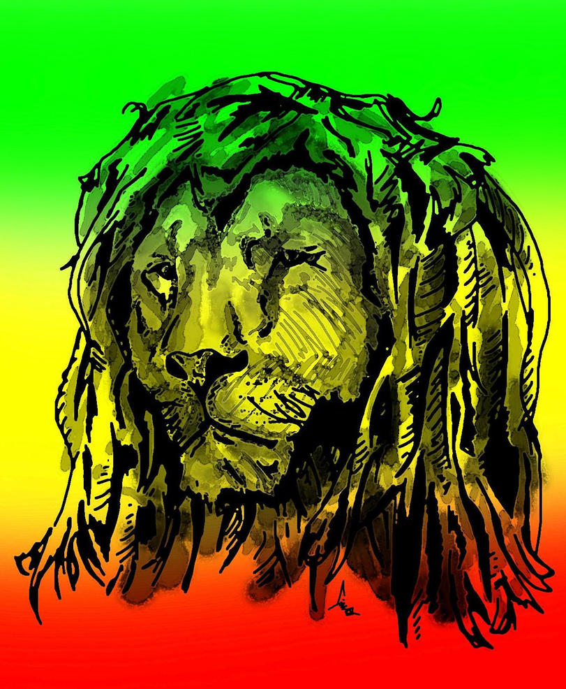 Rasta lion face sketch - photo#4