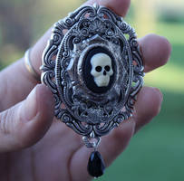 Terry Pratchett Death brooch by Pinkabsinthe