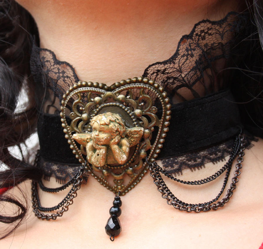 Cupid Steampunk Necklace by Pinkabsinthe