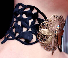 Steampunk Dragonfly choker by Pinkabsinthe