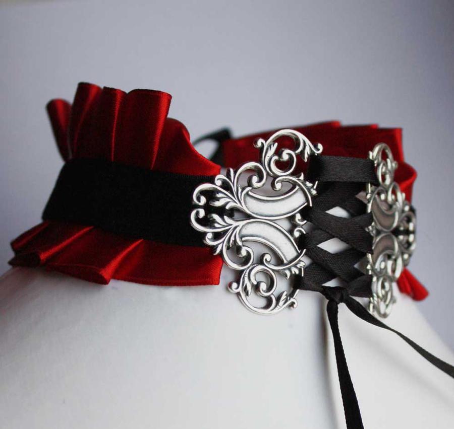Red Vampire Neck Corset by Pinkabsinthe