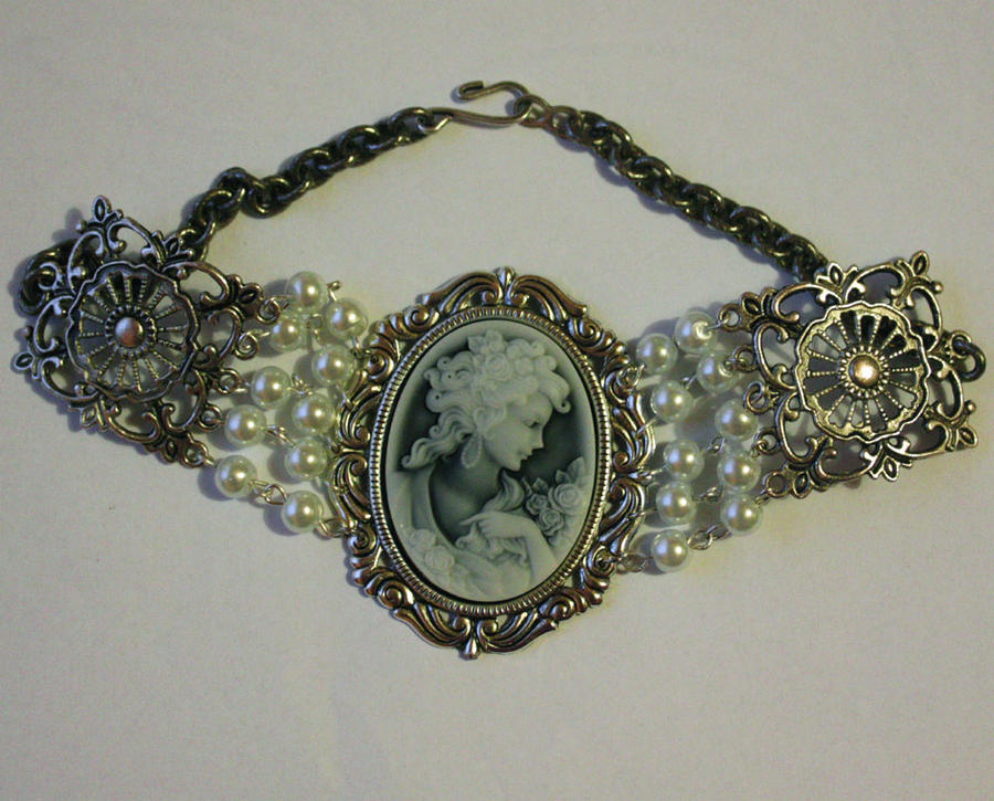 Pearl Cameo Gothic Necklace by Pinkabsinthe