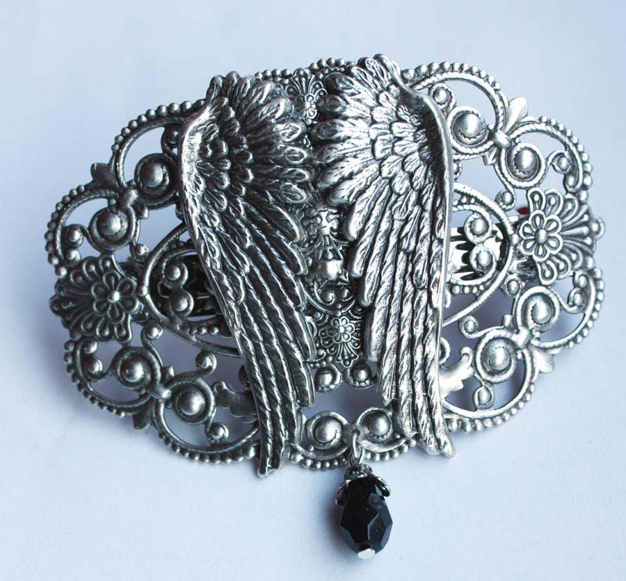 Angel's wings hairpin by Pinkabsinthe