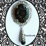Black rose  brooch-pendant