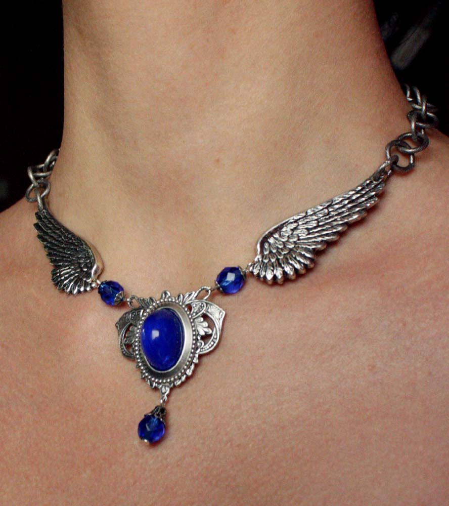 Blue wings necklace