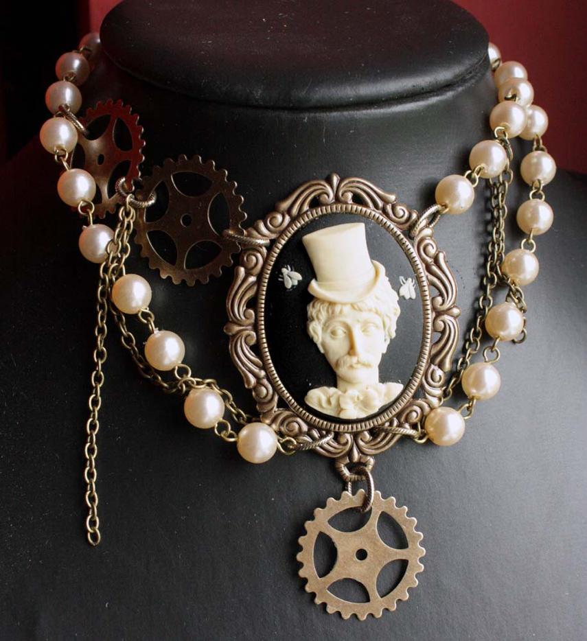 Edgar Poe steampunk choker by Pinkabsinthe