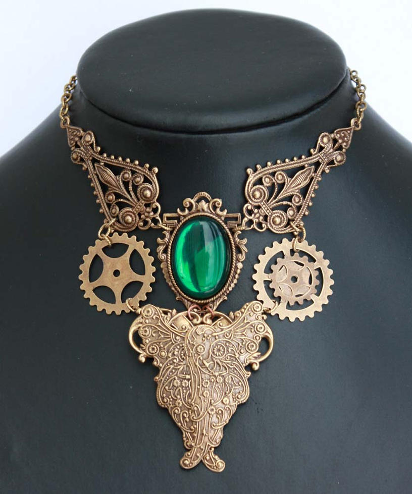 Steampunk emerald choker by Pinkabsinthe