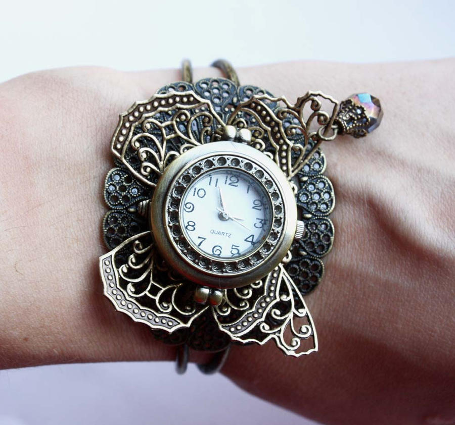 Filigree butterfly watch by Pinkabsinthe