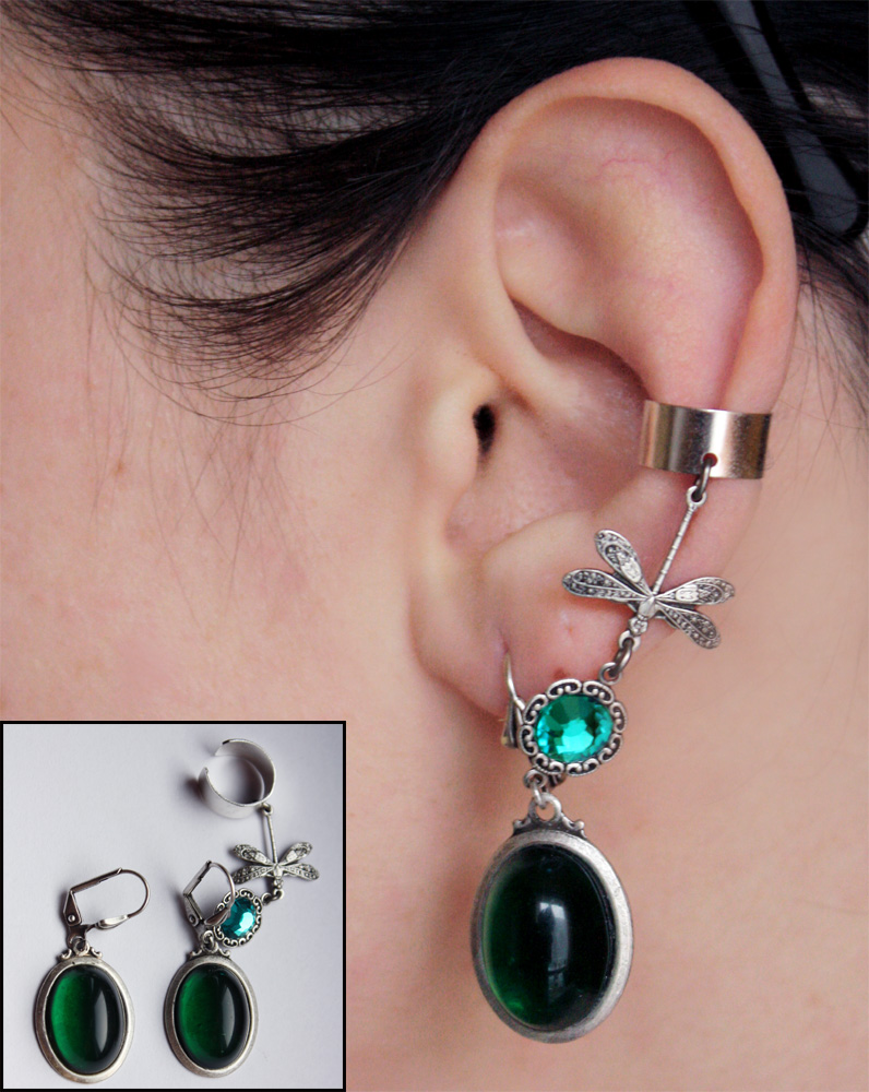 Emerald blue earrings and earuff by Pinkabsinthe