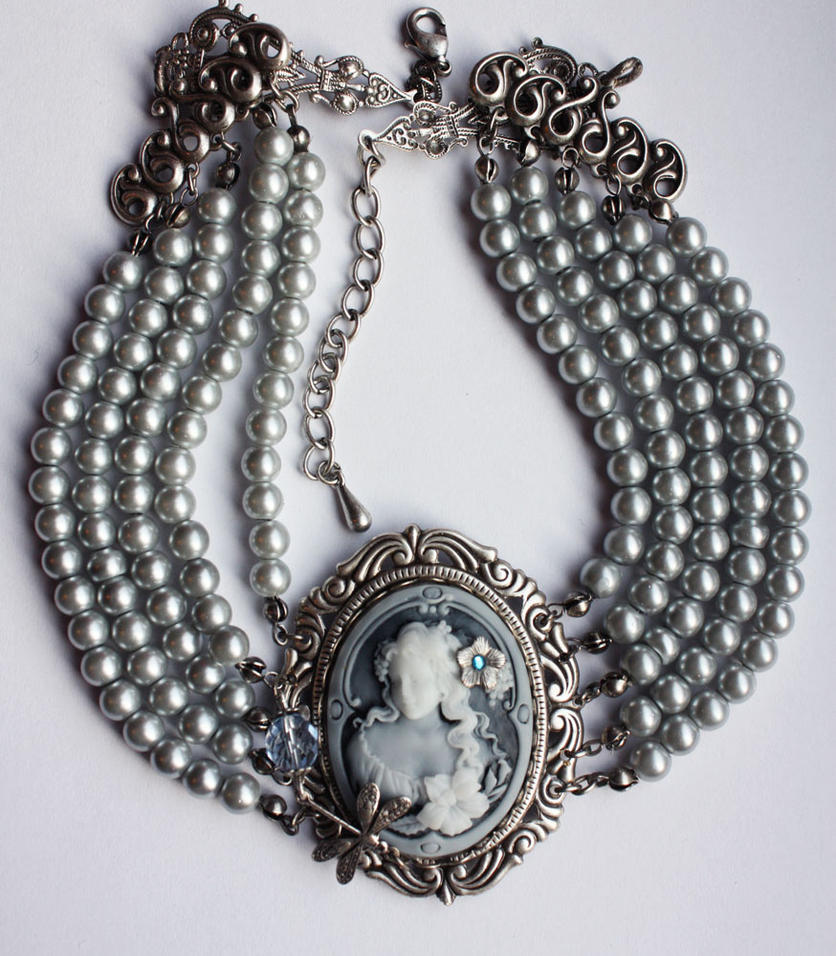 Romantic gray necklace1 by Pinkabsinthe